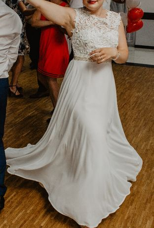 Suknia ślubna ivory perły szyfon rozm. 34,36,38,40