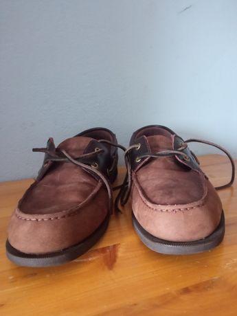 Buty brązowe skórzane żeglarskie marki rockport