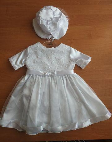 Sukienka chrzest biała r. 68