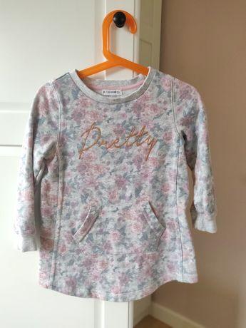 Sukienka tunika szara w kwiaty rozmiar 104