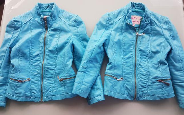 Kurtki kurtka 110 jesienna skórzana niebieska bliźniaczki