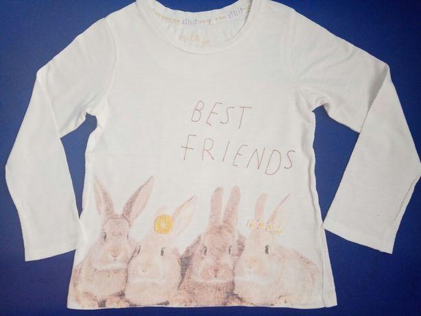 Реглан с кроликами, тонкий, белый, 5-6лет