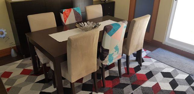 Mesa castanho chocolate + 6 cadeiras