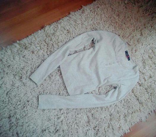 Szary Crop Top bluzka guziki S/XS