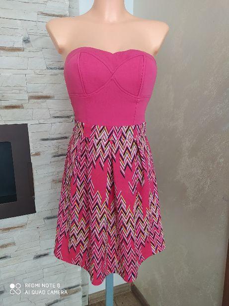 Sukienka różowa gorsetowa r. xxxs/xxs rozkloszowana