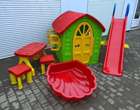 Супер ціна! Дитячий ігровий набір-будинок,гірка,пісочниця,стіл,стільці