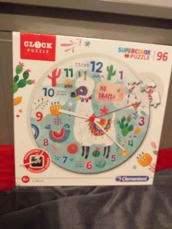 Puzzle supercolor, zegar, kolorowa lama 96 elementów, nowe