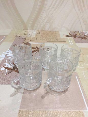 Стаканы с ручкой (бокал, чашка, кружка) из  стекла