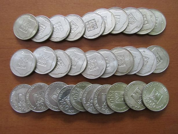 srebrne monety XXX lat prl-u 'mapka'