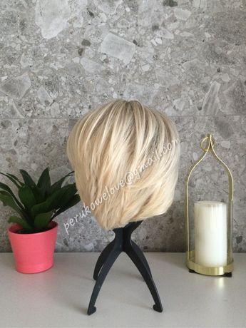 Peruka krotka jasny blond. Naturalny wyglad!