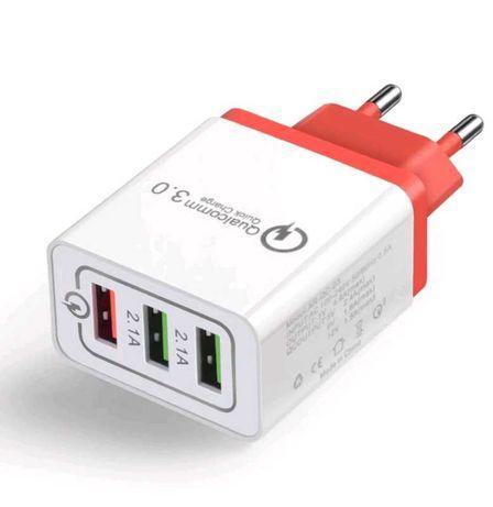 QC Зарядное Устройство 2-2.4А - Зарядка от Сети 2, 3 Порта, EU, US