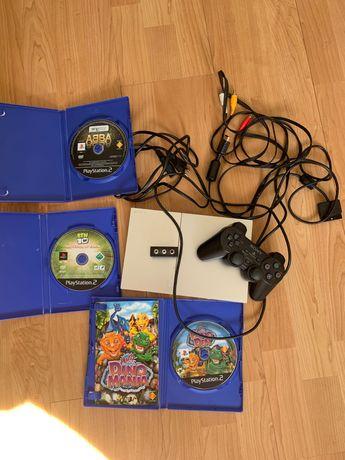 PlayStation 2 cinzenta , comando original da Sony e 3 jogos