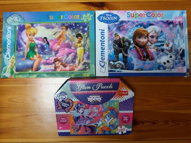 Puzzle komplet 3 sztuki Frozen, My Little Pony