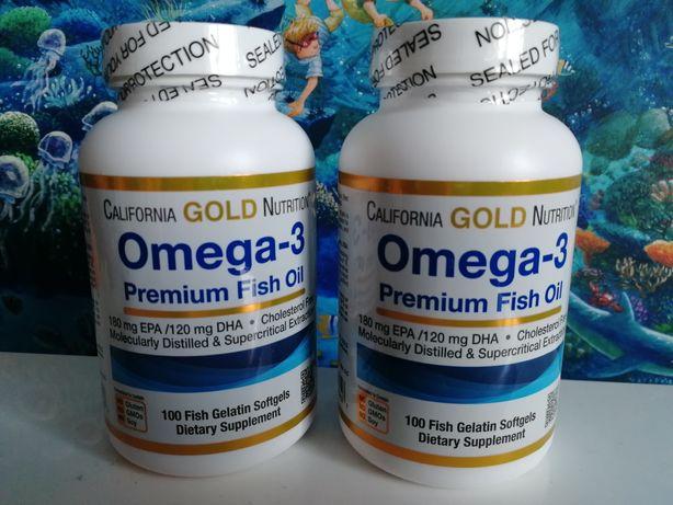 California Gold Nutrition, Омега-3, рыбий жир, 100 капсул