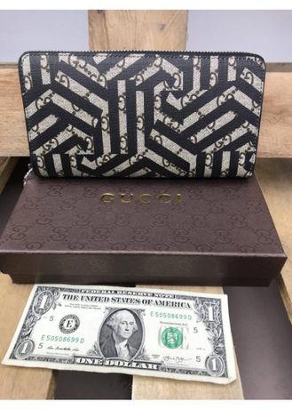 Подарок к 8 марта кошелек женский Gucci кожаный для документов и денег