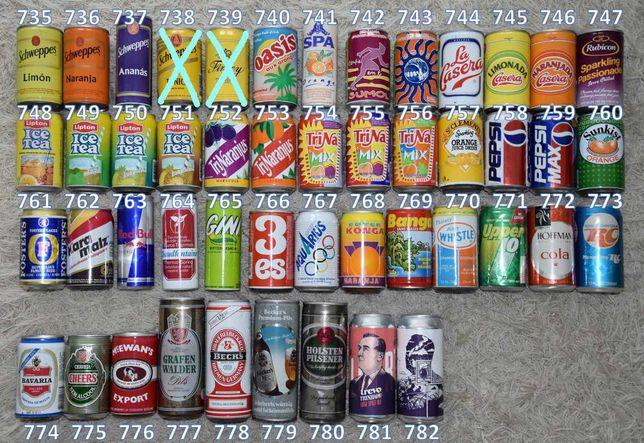 Latas vazias de bebidas variadas 17, para coleção ou decoração.