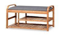 ST-13 / STOJAK NA BUTY z siedziskiem i schowkiem / 100x30x50 / bambus