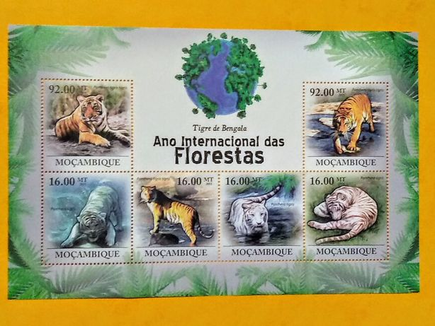 Znaczki blok Mozambik 2011 tygrysy