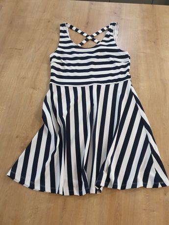 Sukienka biało-granatowa H&M r. M