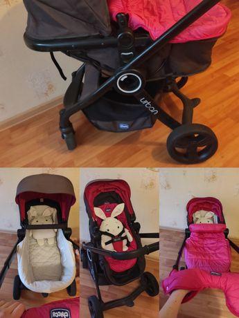 Коляска Chicco Urban розово-коричневая для новорожденного москитная
