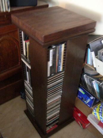 Dębowa półka regał obrotowy na łożysku stojak na płyty CD DVD unikat