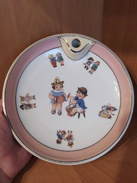 Podgrzewacz talerz dziecięcy sygnatura porcelanowy stary
