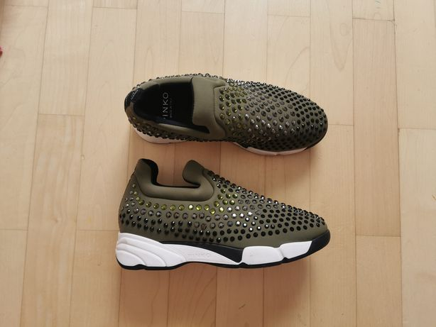 Pinko sneakersy wsuwane Khaki cekiny 36