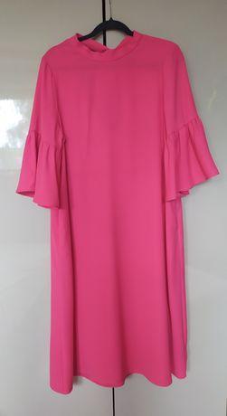 Sukienka róż falbanki i wiązanie na plecach 46/48