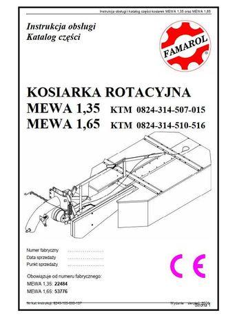 Instrukcja obsługi katalog części kosiarka rotacyjna Mewa 1,35 i 1,65