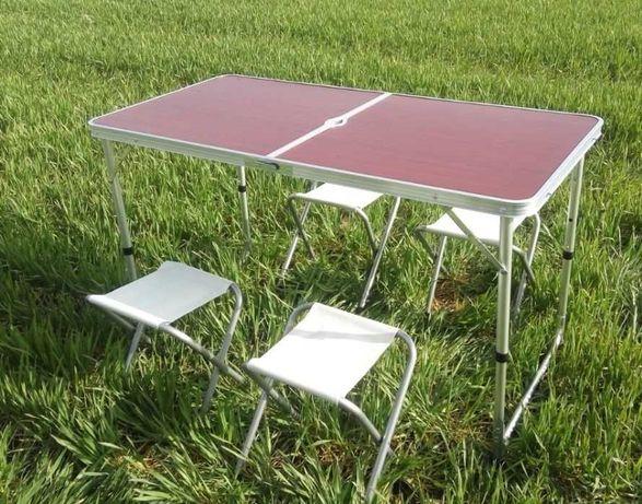 Стіл і стільчики для відпочинку складний усилений стол для пикника