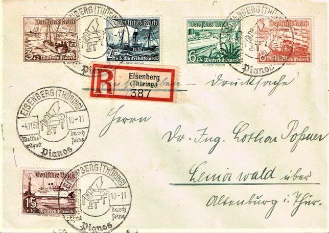 Trzecia Rzesza 1937 - FDC - 3 koperty polecone-RZADKIE!GRATIS WYSYŁKA!