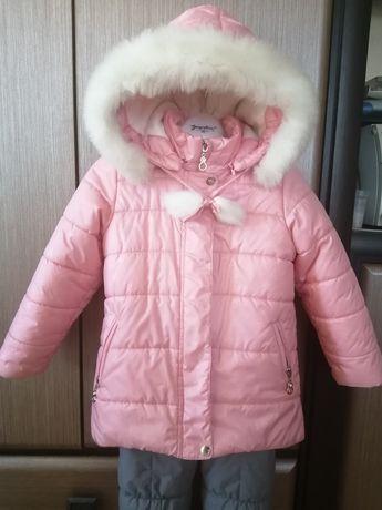 Зимовий комплект (куртка+напівкомбінезон) на дівчинку
