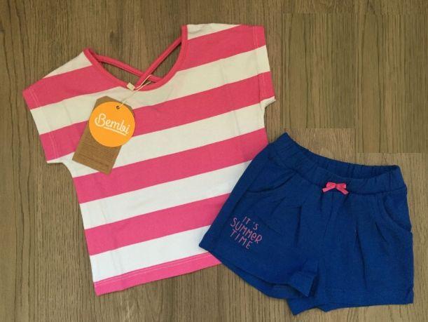 Letni KOMPLET dla dziewczynki koszulka i szorty rozmiar 116
