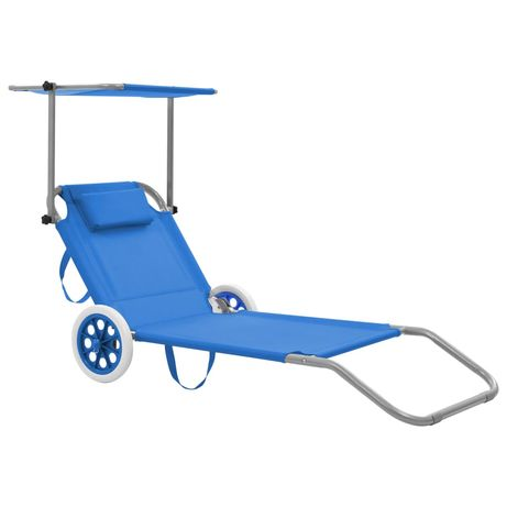 vidaXL Espreguiçadeira dobrável com toldo e rodas aço azul 44322