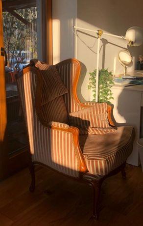 Fotel w stylu Ludwik- antyk ładny vintage, brudny różowy