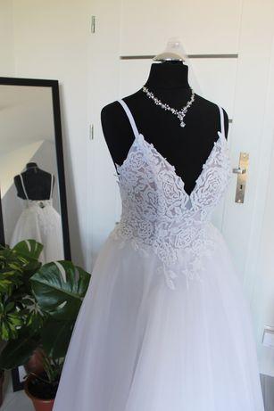Sprzedam! Suknia ślubna odkryte plecy wyszywana koronka gratis welon