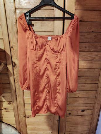 Pomarańczowa krótka sukienka