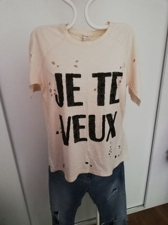 Koszulka T-shirt z dziurami RIVER ISLAND rozmiar S