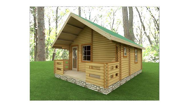 """Domek drewniany letniskowy """"KWARC"""" z podwójnego balika 2 x 45mm"""