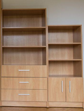 komplet dwa regały szafka półka szuflady meble modułowe nowoczesne
