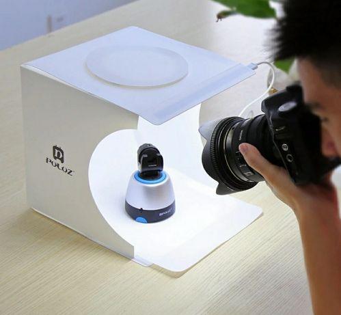 Mini Estúdio Fotográfico Portátil Duplo Led iluminação tampa superior
