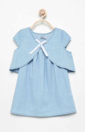 Nowy zestaw sukienka bolerko jeans Reserved rozm. 68