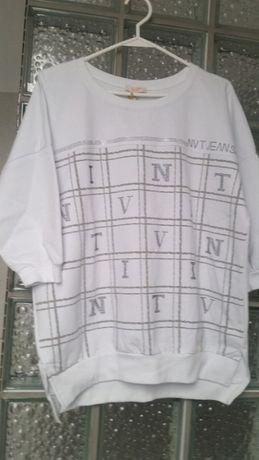 bluza biała z nadrukiem ozdobnym