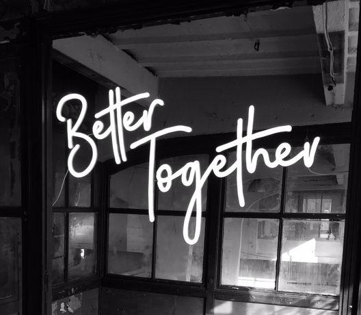 Napis led, ledon, Better Together, dekoracja, ścianka weselna