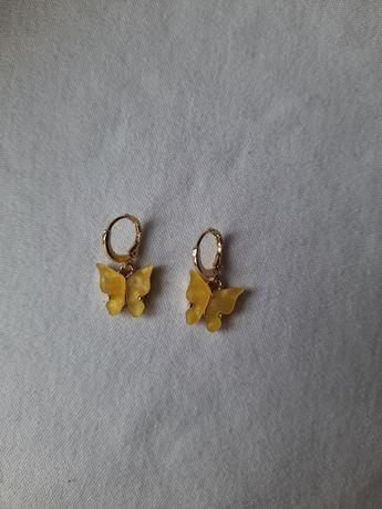 kolczyki motylki żółte