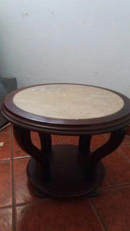 Mesa em madeira com tampo em mármore, redonda - excelente estado