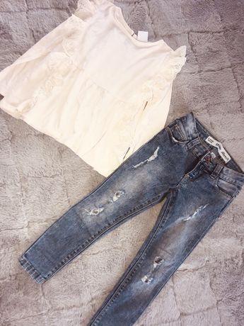 Komplet bluzka z koronka zara + spodnie jeans skinny