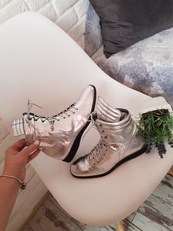 Ботинки prada черевички  кожа тренд 2021 серебро 37 сапожки шкіра Zara