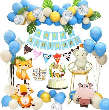 Kit decoração festa aniversário Animais selva raposa elefante