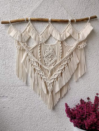Makrama ścienna kwietnik na rośliny doniczki dekoracje boho ecru